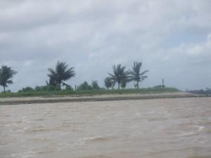 Monding Commewijne en Suriname Rivier aan de kust (foto: René Hoeflaak)