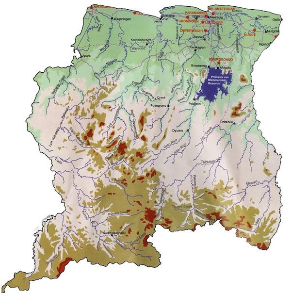 Kaart Suruiname