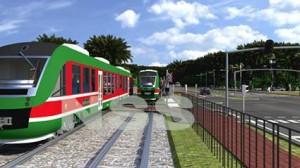 Groenroodwitte trams in Suriname (beeld uit presentatie Strukton Systems)