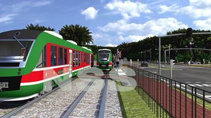 Groenroodwitte trams in Suriname (beeld uit presentatie Strukton Systems)