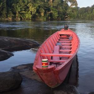 Genieten van de zonsopkomst in de Boven-Surinamerivier (foto: René Hoeflaak)