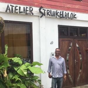 """Maart 2018""""George Struikelblok voor zij atelier (foto: René Hoeflaak)"""