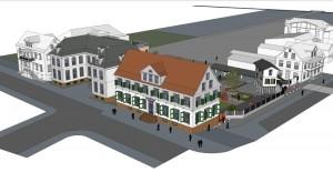 Tekening van situatie parlementsgbouw Henck Aaronstraat na renovatie